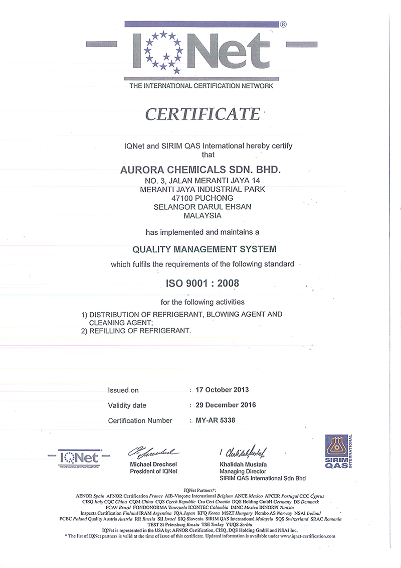 Aurora Chemicals Sdn Bhd - Your Reliable Refrigerant Supplier